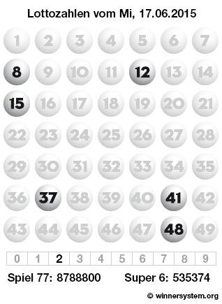 Lottozahlen vom 17.06.2015 als Tippmuster