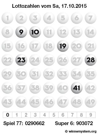 Lottozahlen vom 17.10.2015 als Tippmuster