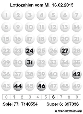 Lottozahlen vom 18.02.2015 als Tippmuster