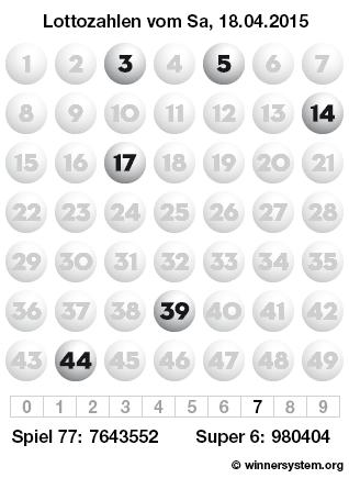 Lottozahlen vom 18.04.2015 als Tippmuster