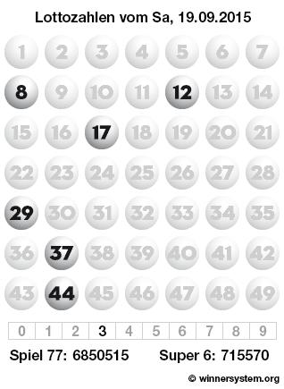 Lottozahlen vom 19.09.2015 als Tippmuster