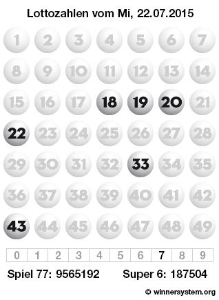 Lottozahlen vom 22.07.2015 als Tippmuster
