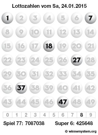 Lottozahlen vom 24.01.2015 als Tippmuster