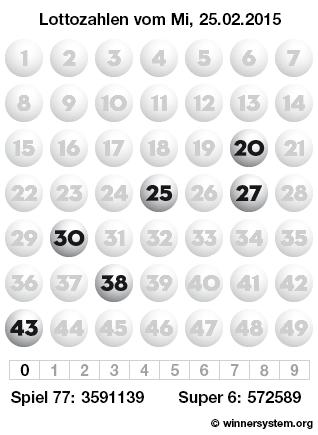 Lottozahlen vom 25.02.2015 als Tippmuster