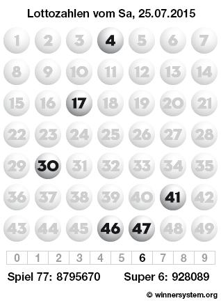 Lottozahlen vom 25.07.2015 als Tippmuster