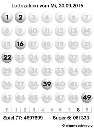 Lottozahlen vom 30.09.2015 als Tippmuster