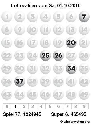 Lottozahlen vom 01.10.2016 als Tippmuster