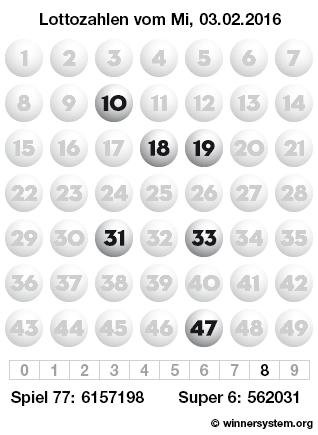 Lottozahlen vom 03.02.2016 als Tippmuster
