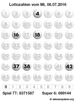 Lottozahlen vom 06.07.2016 als Tippmuster