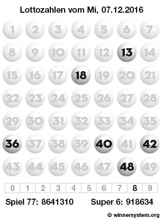 Lottozahlen vom 07.12.2016 als Tippmuster