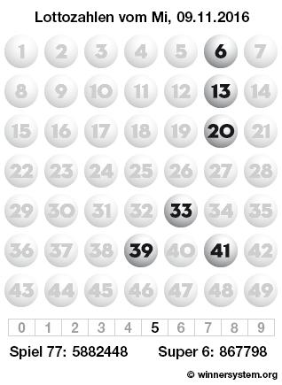 Lottozahlen vom 09.11.2016 als Tippmuster