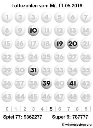 Lottozahlen vom 11.05.2016 als Tippmuster