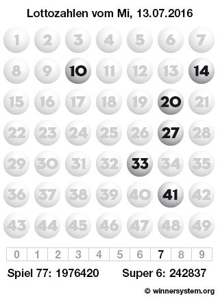 Lottozahlen vom 13.07.2016 als Tippmuster
