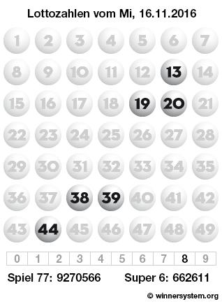 Lottozahlen vom 16.11.2016 als Tippmuster