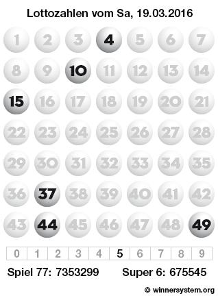 Lottozahlen vom 19.03.2016 als Tippmuster