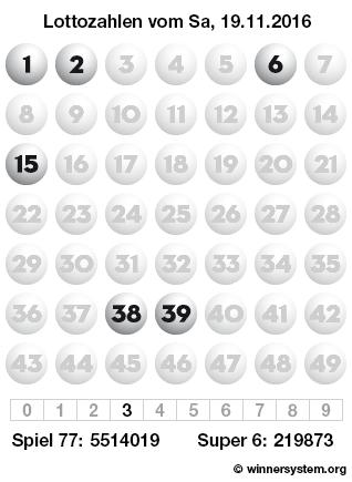 Lottozahlen vom 19.11.2016 als Tippmuster
