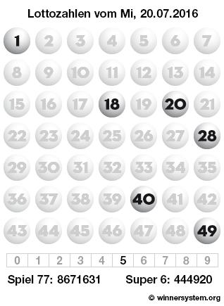 Lottozahlen vom 20.07.2016 als Tippmuster