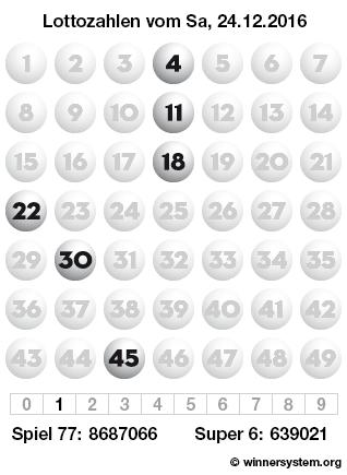 Lottozahlen vom 24.12.2016 als Tippmuster