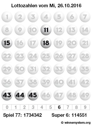 Lottozahlen vom 26.10.2016 als Tippmuster