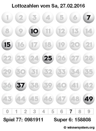 Lottozahlen vom 27.02.2016 als Tippmuster