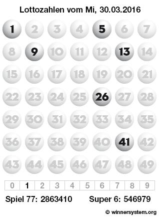 Lottozahlen vom 30.03.2016 als Tippmuster