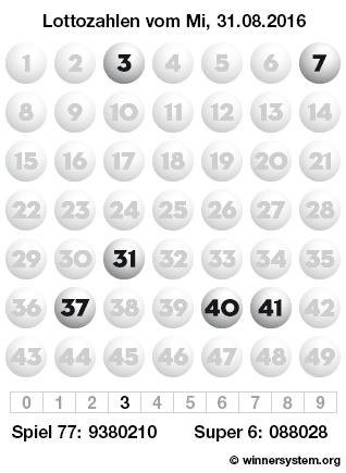 Lottozahlen vom 31.08.2016 als Tippmuster