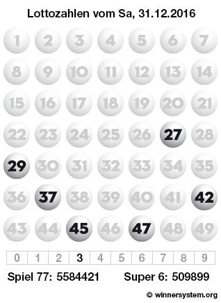 Lottozahlen vom 31.12.2016 als Tippmuster