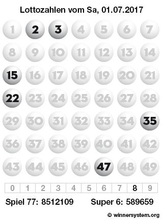 Lottozahlen vom 01.07.2017 als Tippmuster