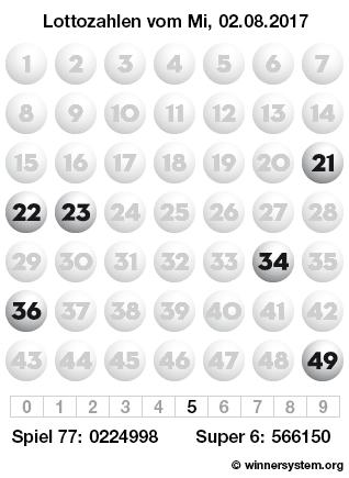 Lottozahlen vom 02.08.2017 als Tippmuster