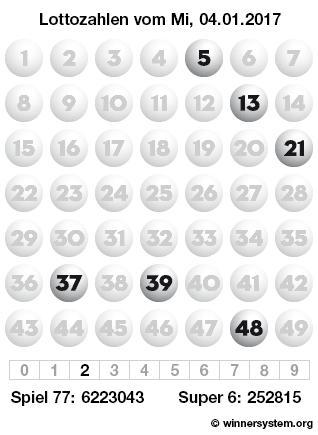 Lottozahlen vom 04.01.2017 als Tippmuster