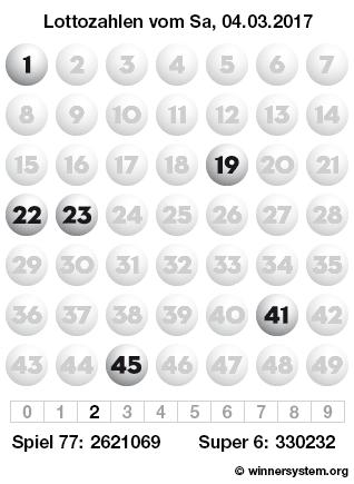 Lottozahlen vom 04.03.2017 als Tippmuster
