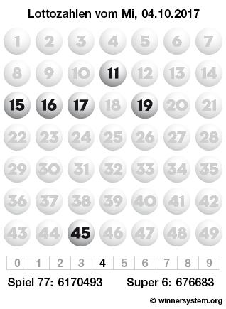 Lottozahlen vom 04.10.2017 als Tippmuster