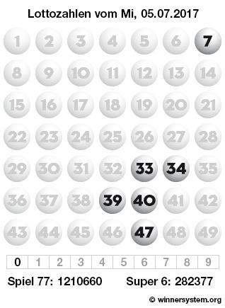 Lottozahlen vom 05.07.2017 als Tippmuster