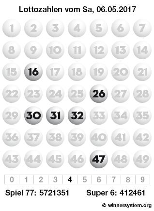 Lottozahlen vom 06.05.2017 als Tippmuster