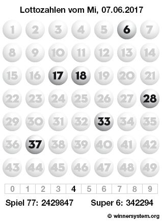 Lottozahlen vom 07.06.2017 als Tippmuster