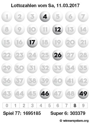 Lottozahlen vom 11.03.2017 als Tippmuster