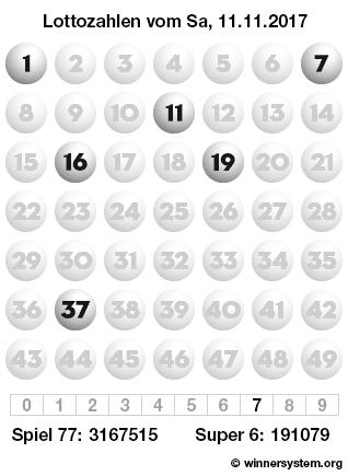Lottozahlen vom 11.11.2017 als Tippmuster