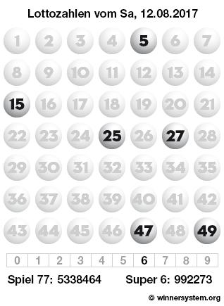 Lottozahlen vom 12.08.2017 als Tippmuster