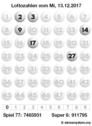 Lottozahlen vom 13.12.2017 als Tippmuster