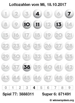 Lottozahlen vom 18.10.2017 als Tippmuster