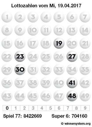 Lottozahlen vom 19.04.2017 als Tippmuster