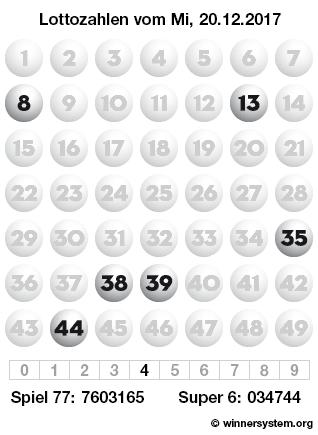 Lottozahlen vom 20.12.2017 als Tippmuster