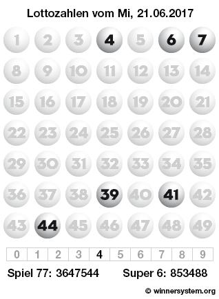 Lottozahlen vom 21.06.2017 als Tippmuster