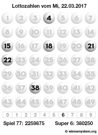 Lottozahlen vom 22.03.2017 als Tippmuster