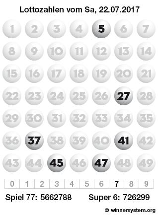 Lottozahlen vom 22.07.2017 als Tippmuster