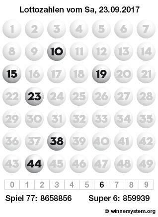 Lottozahlen vom 23.09.2017 als Tippmuster