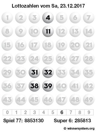 Lottozahlen vom 23.12.2017 als Tippmuster