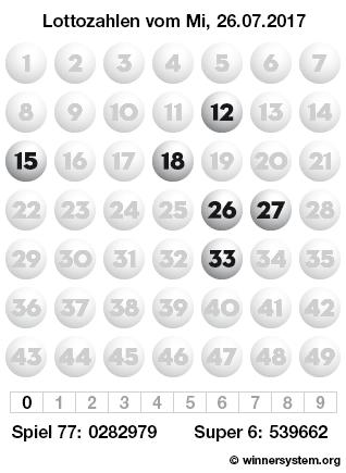 Lottozahlen vom 26.07.2017 als Tippmuster