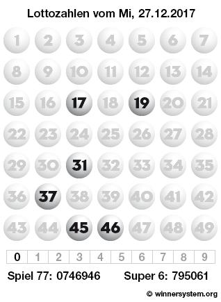Lottozahlen vom 27.12.2017 als Tippmuster
