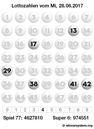 Lottozahlen vom 28.06.2017 als Tippmuster